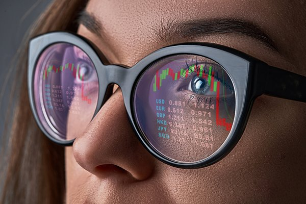 Woman looking at the stock market