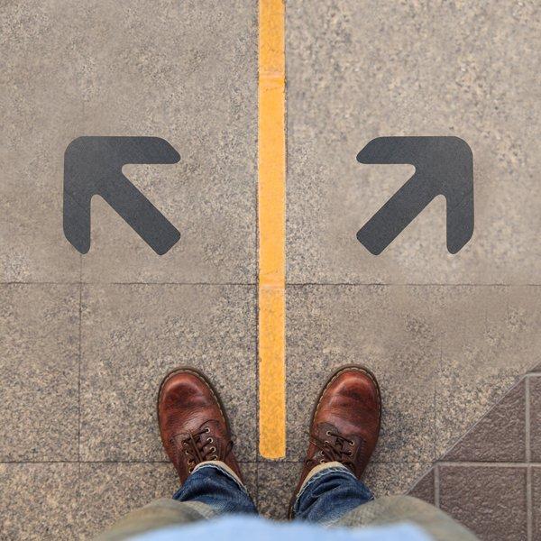 Man choosing between two paths